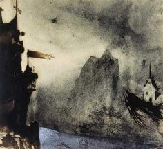 Ermitage Rock in an imaginary landscape - Victor Hugo - Symbolism, 1855