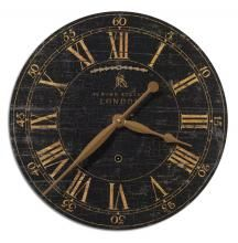This Uttermost Bond Street Wall Clock features a laminated clock face with a weathered, crackled look. Perfect for any home or office decor, this clock is sure to add some elegance to any room. Tabletop Clocks, Wood Clocks, Vintage London, Traditional Wall Clocks, Traditional Furniture, London Wall, London Clock, Black Clocks, Big Clocks