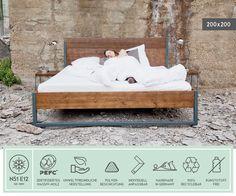 Betten - LOFT VINTAGE INDUSTRIAL BETT 200x200 HOLZ + STAHL - ein Designerstück von N51E12 bei DaWanda