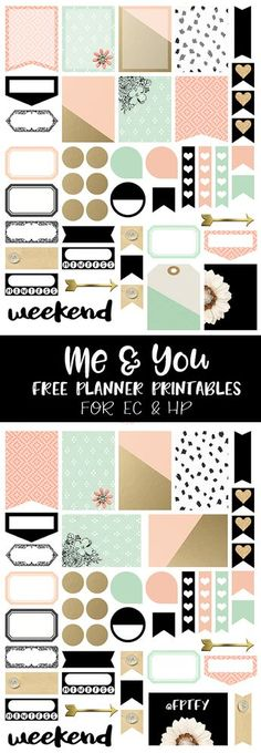 Free Printable Me and You Planner Stickers from Free Pretty Things For You