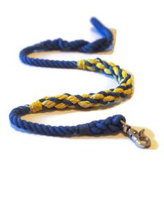 Blue and Yellow Cotton Rope Dog Leash  Michigan Dog Leash