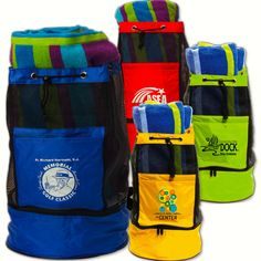 Versatile beach bag combines mesh backpack with large detachable cooler. A popular promotional product for universities, summer camps, and beach-themed fundraisers and corporate events.