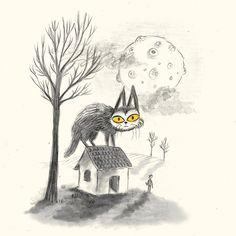 Our cat at full moon  #Warecat #Fullerton #catsofinstagram #sketchbook #illustration #doodleaday #cat