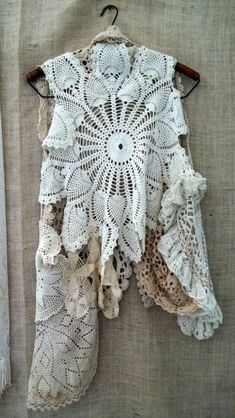 upcycling ideas | this beautiful vest made from upcycled doilies . Speaking of upcycling ...