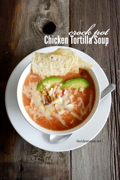 Crock Pot Chicken Enchilada Soup Recipe | theidearoom.net #soup #crockpot #slowcooker
