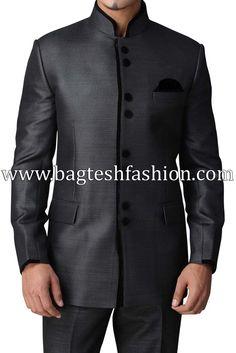 Traditional Dark Gray Jodhpuri Suit
