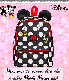 41ac292767d Minnie Mouse Backpack for Girl Bag with Ears Disney Bags for Women Mickey  Daisy Duck Travel