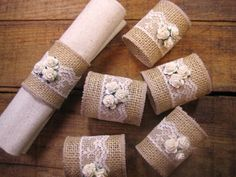 RESERVED FOR LESLIE 2 Burlap Napkin Rings por goodbuyNoraJean