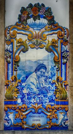I've written before about azulejos (Portuguese ceramic tiles) at train stations along the Douro Valley and in the gateway city of Peso da Régua, but the most em Mosaic Art, Mosaic Tiles, Douro Portugal, Douro Valley, Portuguese Tiles, Victorian Art, Decorative Boxes, Creations, Hand Painted