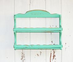 Vintage Spice Rack for a Cottage Kitchen in Aqua Mint