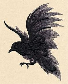 Barocke verzieren Rabe Krähe bestickt Würfel von ToteUncommon