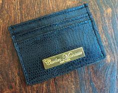 Black Snake Embossed Leather Slim Wallet/Card by CarlenManasseNY