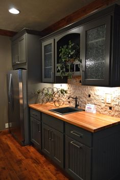 Spring Parade of Homes Grey Kitchen Cabinets, Kitchen Cabinet Design, Kitchen Flooring, Interior Design Kitchen, Butcher Block Kitchen, Home Decor Kitchen, Kitchen Furniture, Diy Kitchen, Kitchen Dining