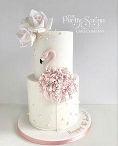 Flamingo blush pink rose gold birthday cake 30th