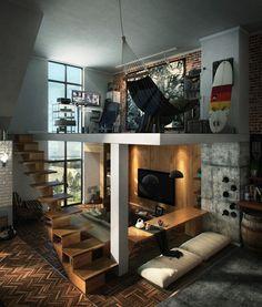 Loft com decoração industrial e um ótimo home-office para trabalhar em casa