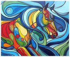 Abstract Running Horse by horseswithmoustaches