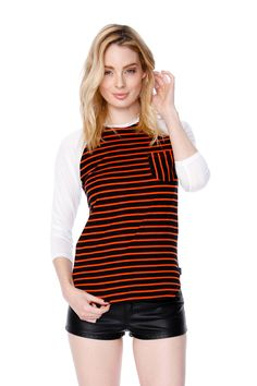 Red & Black Striped Baseball Tee with Black Shorts