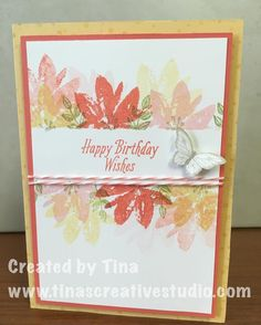 One of the cards in this week's class using the Avant Garden stamp set from Stampin Up that you can earn for free during Sale-a-Bration. #cardmaking #stamping #handmadecards #stampinup #tinascreativestudio