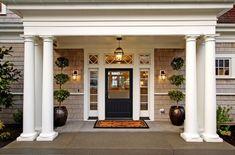 Cape Cod Style House Design Ideas, Pictures, Remodel, and Decor - page 12 Front Door Design, Front Door Colors, Entrance Design, Window Design, Eckhaus, Front Door Lighting, Exterior Lighting, Entry Lighting, Lighting Ideas