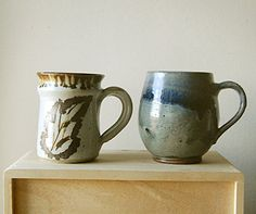 Instant Set A Pair of Organic Handmade Ceramic Coffee or Tea Mugs. Oh yes, I use my mugs on the go!! even to the garden!