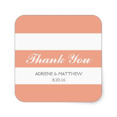Simply Stripes Thank You Wedding Stickers / Peach