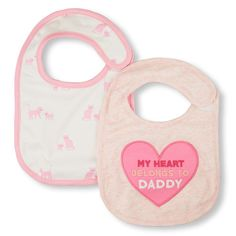 Newborn Baby Kitty Family Love Print And 'My Heart Belongs To Daddy' Graphic Bib Set 2-Pack - White - The Children's Place