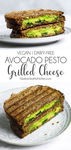 Vegan Avocado Pesto Grilled Cheese A grilled cheese sandwich with a twist. , Vegan Avocado Pesto Grilled Cheese A grilled cheese sandwich with a twist. The twist being this vegan avocado pesto grilled cheese toastie is SO MUCH . Vegan Foods, Vegan Dishes, Vegan Meals, Vegan Lunches, Healthy Vegetarian Lunch Ideas, Pesto Dishes, Easy Vegan Dinner, Cheese Dishes, Vegan Breakfast Recipes