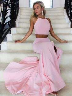 Two Piece Pink Long Prom Dress with Slit,Mermaid Prom Dress by lass, $164.70 USD
