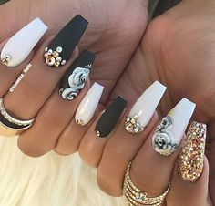 White and black coffin nails with gold designs | gray rose on matte black coffin nails | long coffin nails #nails #nailstagram #coffinnails