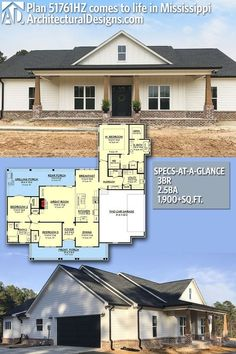 Classic 3 Bed Country Farmhouse Plan Our client built Architectural Designs Modern Farmhouse Plan in reverse orientation in Mississippi. The home gives you 3 beds, baths and over square feet of heated living space. New House Plans, Dream House Plans, My Dream Home, Square House Plans, House Plans One Story, Dream Homes, The Plan, How To Plan, Modern Farmhouse Plans