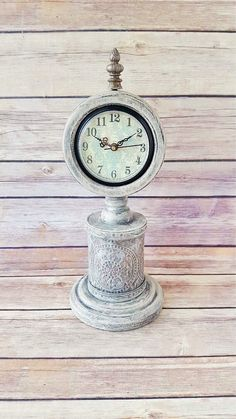 Wood Mantle Clock | Antique White Home Decor | Rustic Clock | Farmhouse Mantle Clock | Table Top Clock | Vintage Chic | READY TO SHIP by CraftyMcDaniel on Etsy https://www.etsy.com/listing/528215500/wood-mantle-clock-antique-white-home
