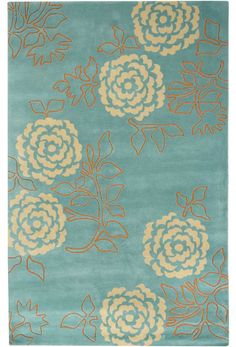 WALLFLOWER - Turquoise contemporary Rugs - collection - EMMA AT HOME contemporary area rugs, modern rugs, goodweave hand-tufted rugs, hand-knotted rugs