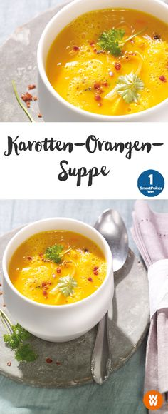 Karotten-Orangen-Suppe | 4 Portionen, 1 SmartPoints/Portion, Weight Watchers, fertig in 40 min.