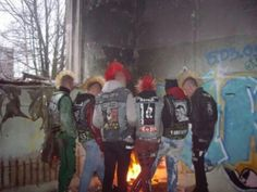 6 male punks, mohawks, Punx by the fire