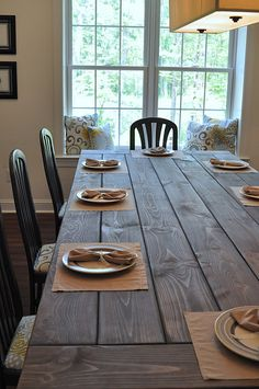 farmhouse table diy with a grey stain.   l love it.  Now to convince my hubby we can actually do it.