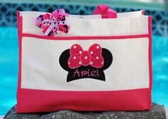 Girls or boys personalized Disney Minnie Mouse Mickey autograph vacation canvas tote bag Disney Cruise flowergirl and bridesmaid bag