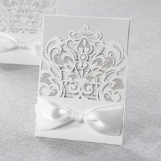 Classy+Laser+Cut+with+White+Bow+by+B+Wedding+Invitations