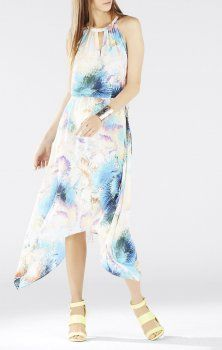 9f83dc31d044 Bcbg Maxazria Keelie Printed Waist Tie Halter Dress - This flowy silhouette  balances an eye-catching signature solarized cosmic print made perfect for  a ...