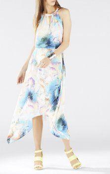 121f4a4e4cbf Bcbg Maxazria Keelie Printed Waist Tie Halter Dress - This flowy silhouette  balances an eye-catching signature solarized cosmic print made perfect for  a ...