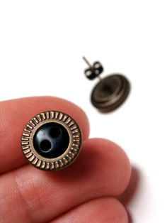 "Black Bronze Earring Studs ""Trés Chic"" by ChatterBlossom #black #simple #jewelry"