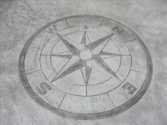 Stamped Concrete Compass- don't care for this one. Need secondary color to make it POP