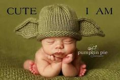 Every baby needs a Yoda Hat! by PinkToad on Etsy funnySooooo cute! Every baby needs a Yoda Hat! by PinkToad on Etsy funny Foto Newborn, Newborn Photos, Baby Outfits, Little People, Little Ones, Cute Kids, Cute Babies, Foto Baby, Crochet Bebe