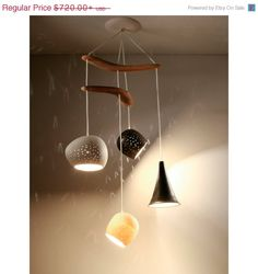 January chandelier Sale Ceiling lighting: Clay-light Boomerang - Four Pendant Chandelier on Etsy, £393.85