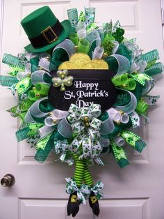 Reserved for Dot H,Happy ST. Patrick's Day Mesh Wreath,St. Patrick's Day Wreath,Leprechaun Theme Wreath by CherylsCrafts1 on Etsy