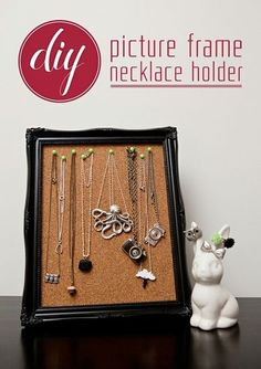 DIY Picture Frame Necklace Holder - corkboard, push pins, and picture frame.