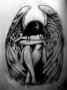 crying angel tattoo- birds in flight in background--Guardian Angels whose people died or never got a chance.