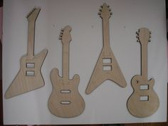Guitar Wood Shapes,Assorted Styles,Laser Cutouts,Unfinished Wood,Music Wall Art