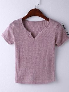 Pink Short Sleeve V Neck Ribbed T-shirt