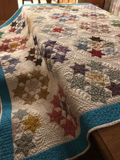 Seven Sisters - vintage quilt top. All freehand quilting. customquiltsofjoy.com