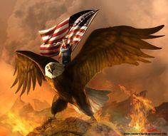 Stephen Colbert atop an eagle by SharpWriter.deviantart.com on @deviantART